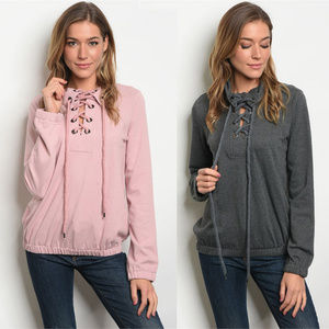 Sweaters - Lace up sweater for women, pink sweaters lace up
